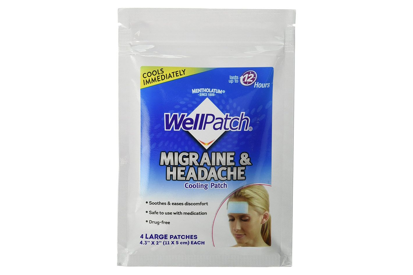 WellPatch Migraine & Headache Cooling Patch, 4 Patches