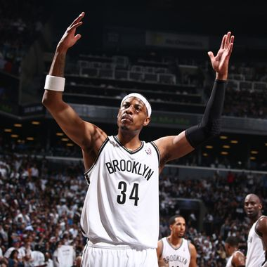 Paul Pierce #34 of the Brooklyn Nets celebrates in Game Four of the Eastern Conference Semifinals against the Miami Heat during the 2014 NBA Playoffs on May 12, 2014 at Barclays Center in Brooklyn.