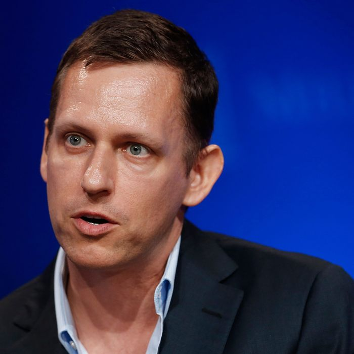 Peter Thiel, president of Thiel Capital, speaks at the annual Milken Institute Global Conference in Beverly Hills, California, U.S., on Monday, April 29, 2013. The Global Conference convenes chief executive officers, senior government officials and leading figures in the global capital markets to explore solutions to today's most pressing challenges in business, health, government and education.