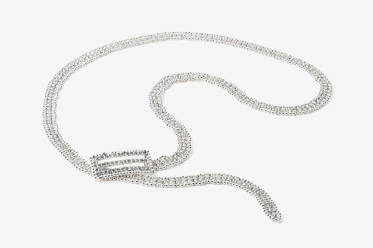 Silver Crystal Rhinestone Silver Beads Belt