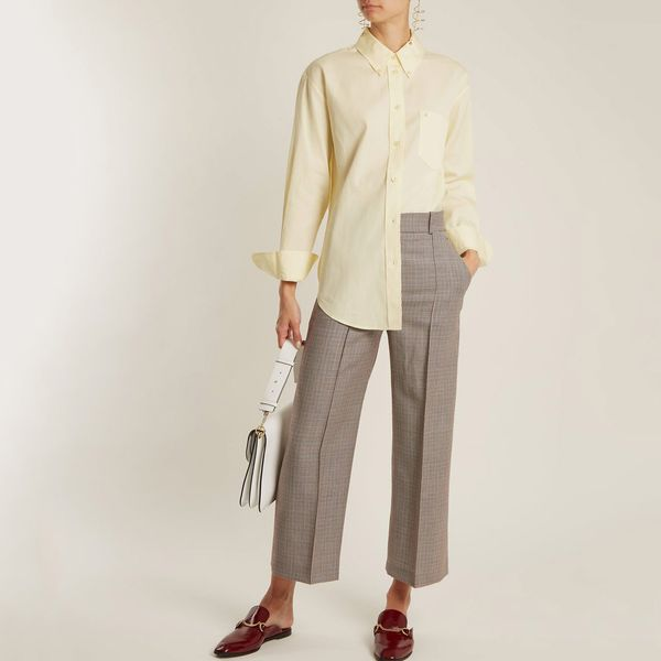 Acne Studios Beatrix Logo-Embroidered Cotton Shirt- strategist best loose fit long sleeve yellow button down blouse
