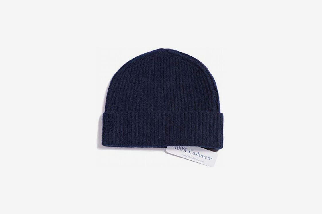 Fishers Finery Men's 100% Pure Cashmere Ribbed Beanie, Navy