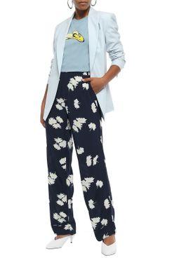 Ganni Floral-Print Crepe Straight-Leg Pants