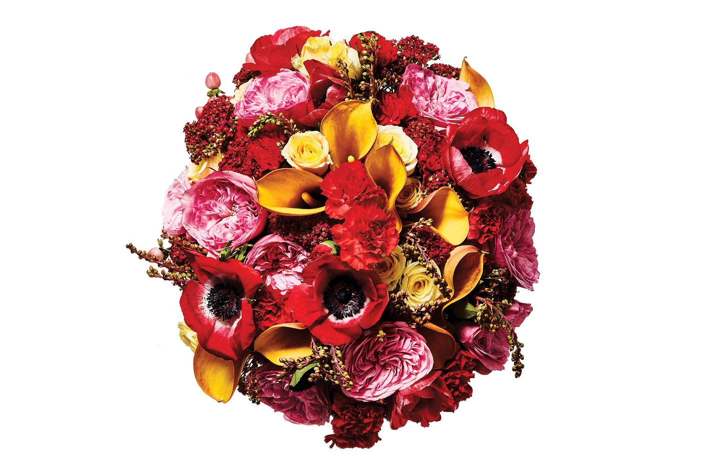 Anemone, yarrow, dianthus, andromeda, garden rose, spray rose, mango calla lily, and hypericum