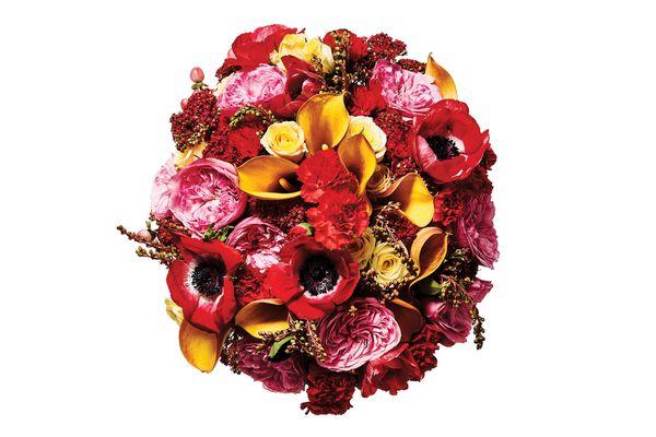 Anemone, yarrow, dianthus, andromeda, garden rose, spray rose, mango calla lily, and hypericum