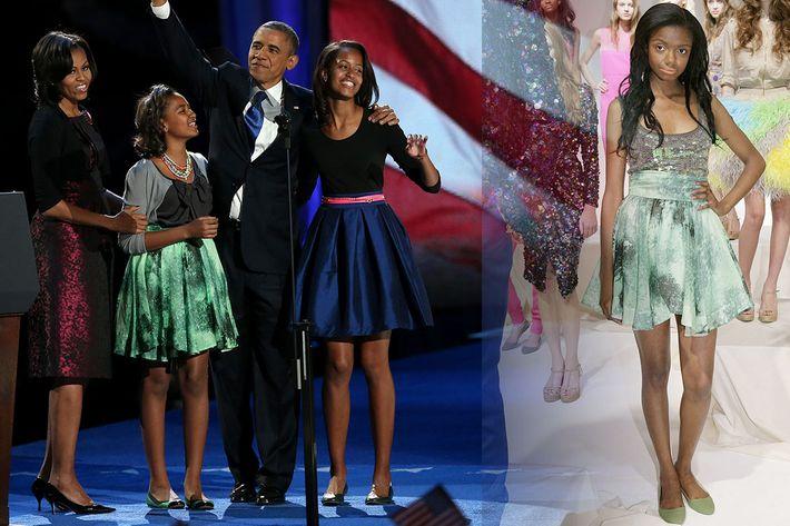 Sasha Obama and her Chris Benz skirt.