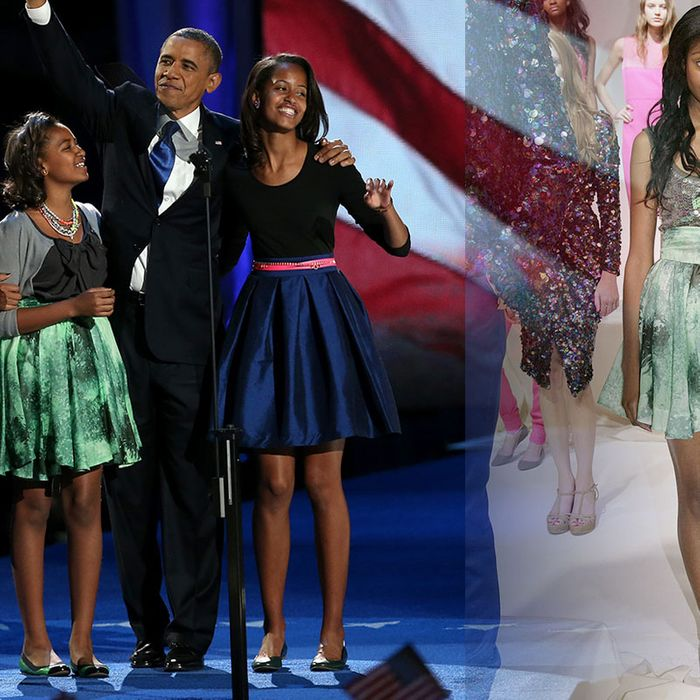 Sasha Obama and her Chris Benz skirt.