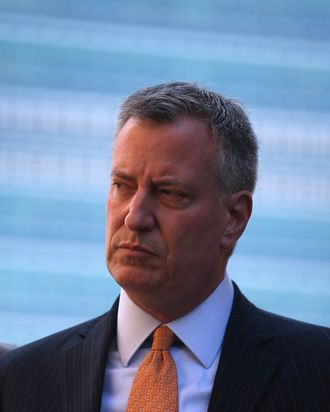 Democratic nominee for New York City mayor Bill de Blasio attends a press conference outside the United Nations Headquarters on September 23, 2013 in New York City. At a media event held by the Jewish Community Relations Council of New York, he and other NYC leaders spoke out urging the Iranian government to halt nuclear enrichment.