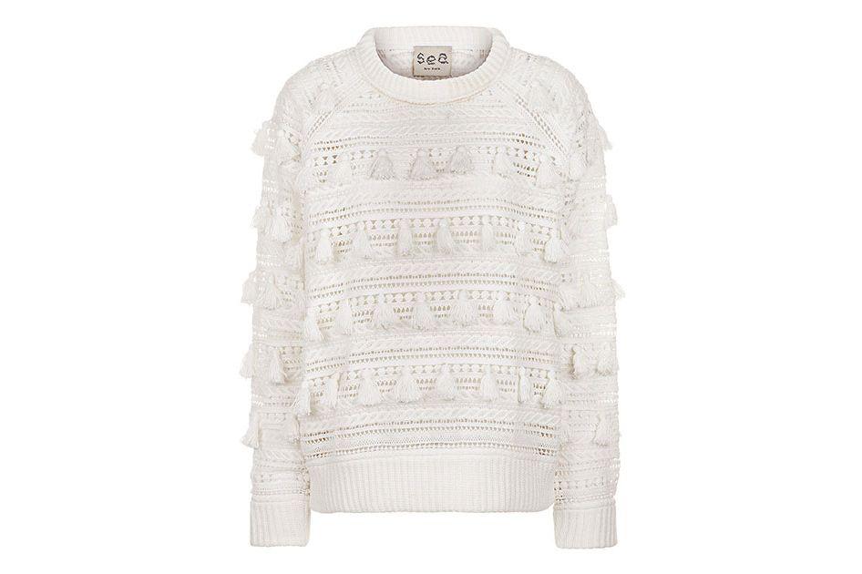 Sea NY Ivory Tassel Crochet Sweatshirt