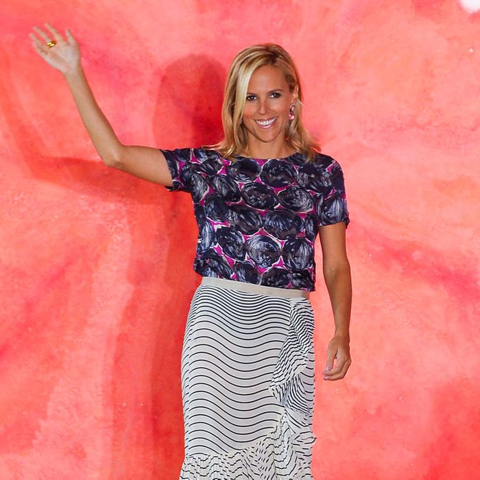Tory Burch at her runway show yesterday.