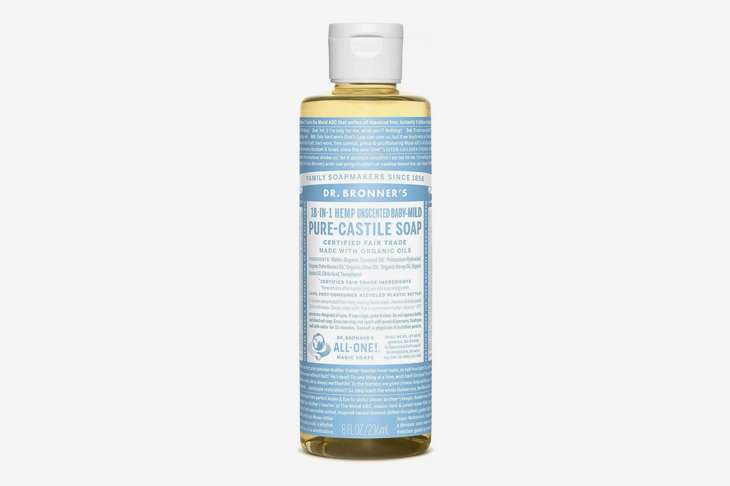 Dr. Bronner's 18-In-1 Hemp Unscented Baby-Mild Pure-Castile Soap