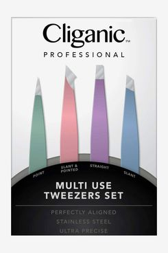 4-Piece Professional Tweezers Set with Case