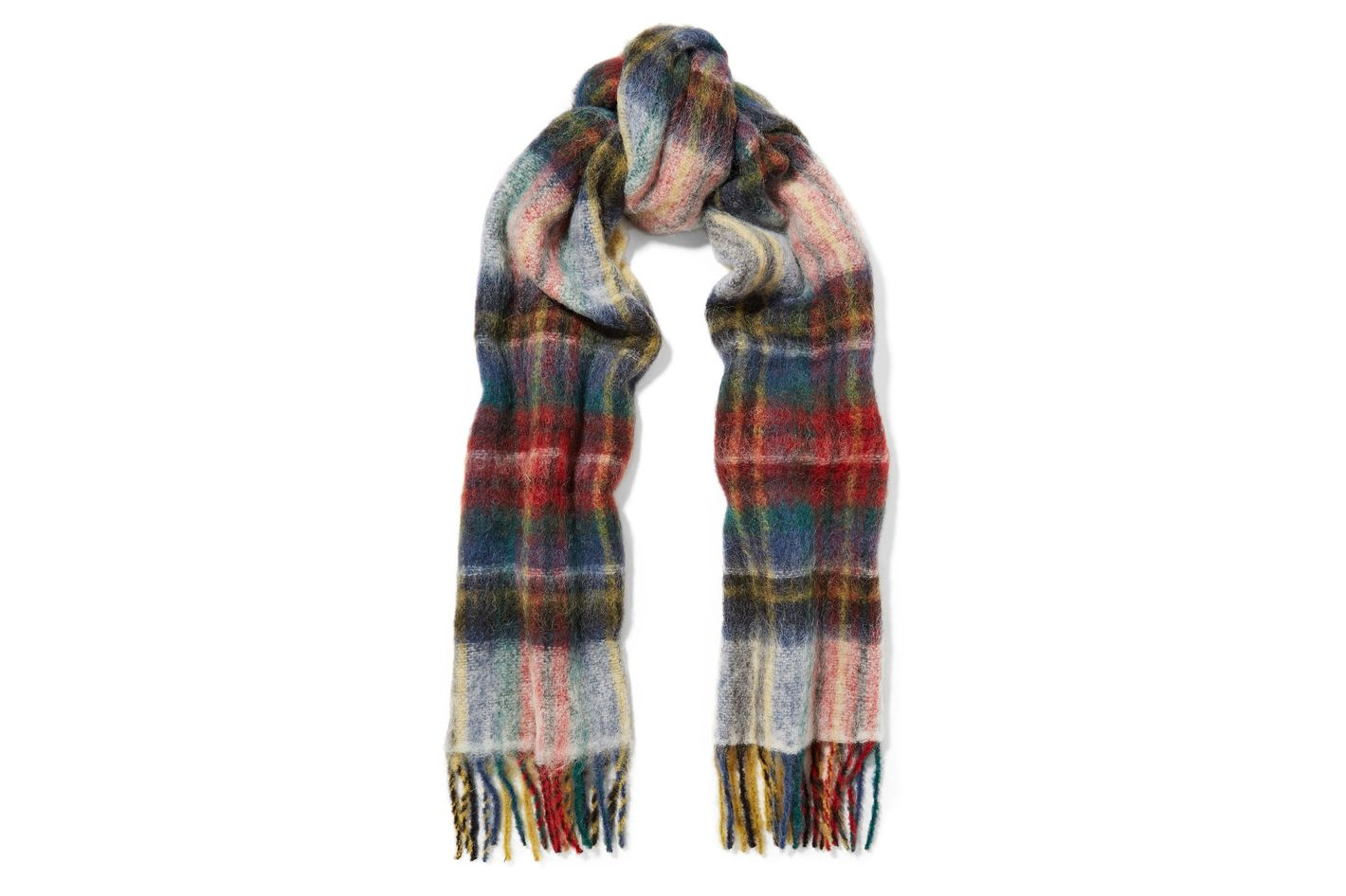 Holzweiler Fresia Fringed Plaid Knitted Scarf