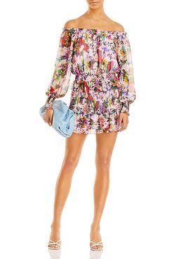 AQUA x Mary Katrantzou Floral Off The Shoulder Top & Smocked Mini Skirt