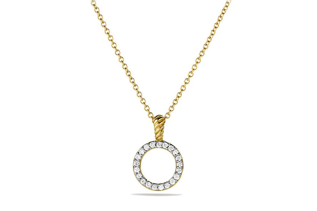 Circle Diamond and 18K Gold Pendant  Necklace