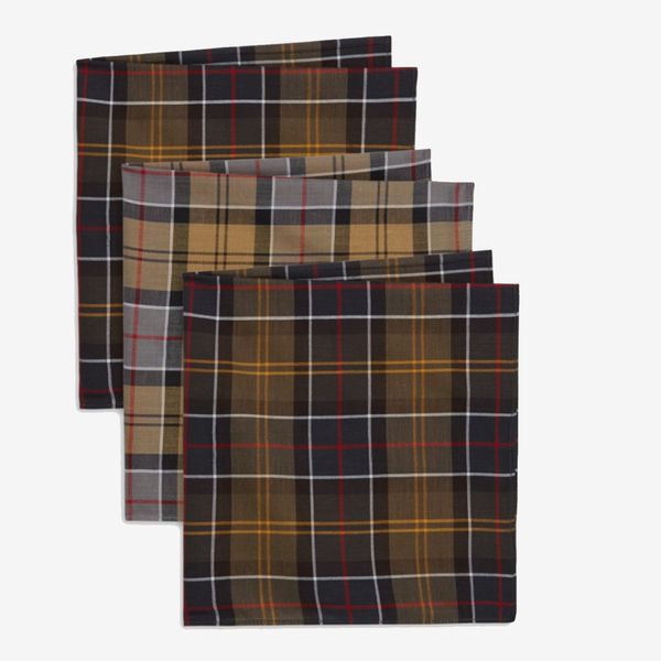 Barbour classic accessories set of 3 tartan pocket square
