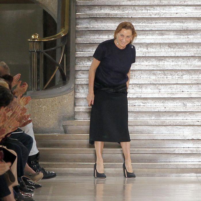 Miuccia Prada takes a bow following the Fall 2011 show.