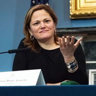 Melissa Mark-Viverito (lefty) responds to a member of the