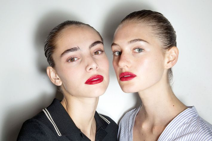 Models backstage at Jason Wu.