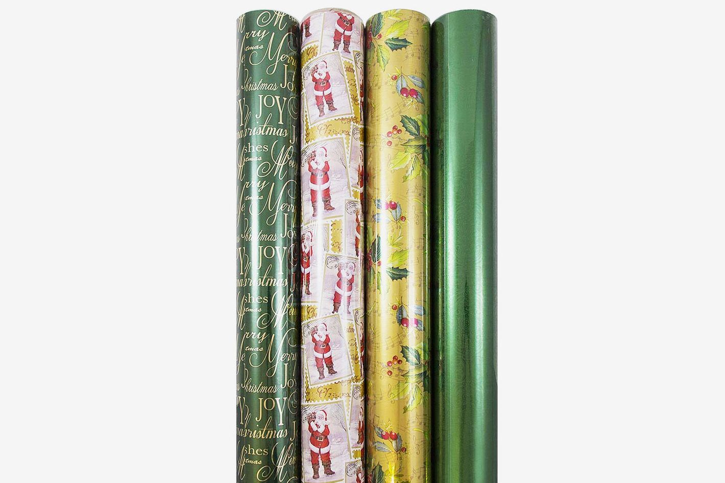 jam paper christmas design wrapping paper lush christmas 180 sq ft 4pack - Christmas Paper
