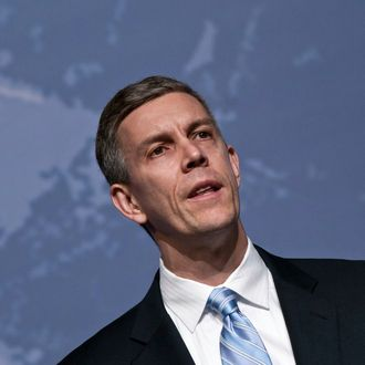 WASHINGTON, DC - MARCH 15: Arne Duncan speaks during the 2011 AAPD Awards Gala at the Ronald Reagan Building on March 15, 2011 in Washington, DC. (Photo by Kris Connor/Getty Images)