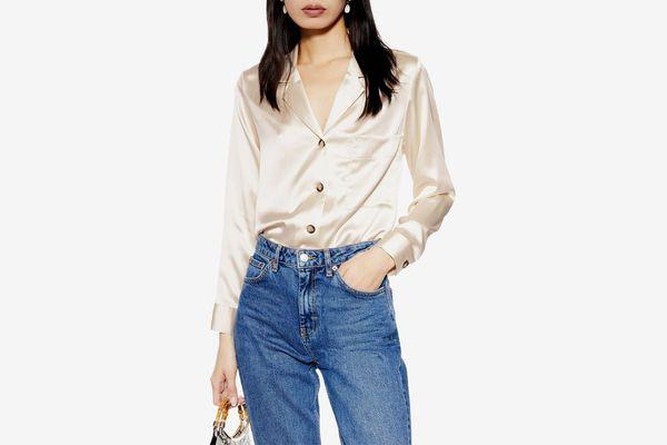 Topshop Satin Button-Up Shirt