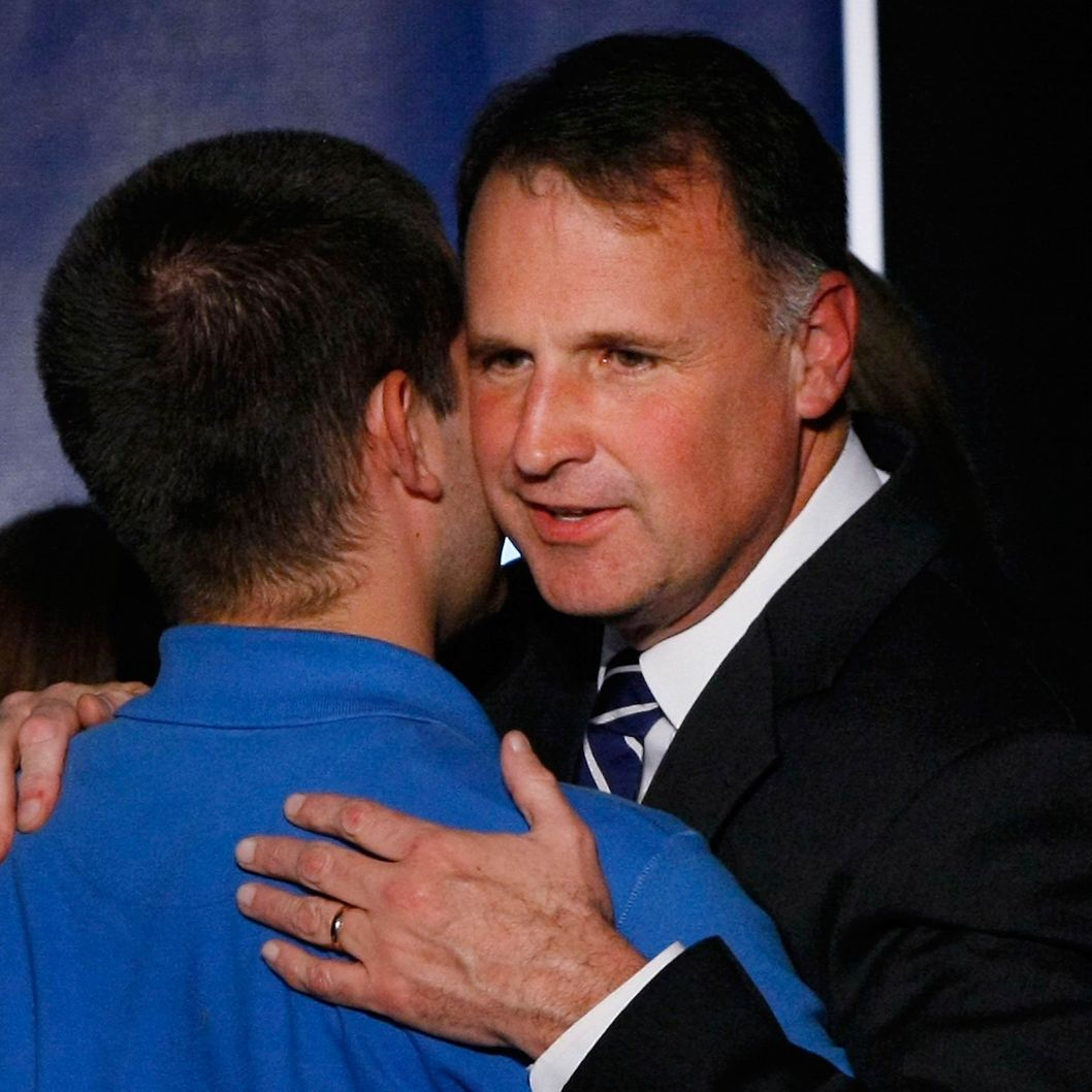 Democratic gubernatorial candidate Creigh Deeds hugs his son Gus after addressing supporters gathered on election night November 3, 2009 in Richmond, Virginia. Virginia voters elected Deeds' Republican opponent, Bob McDonnell, by a decisive margin, reversing eight  years of Democratic control.