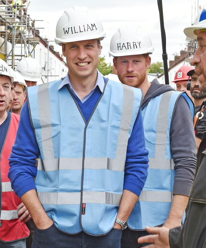 Prince William and Prince Harry hard at work.