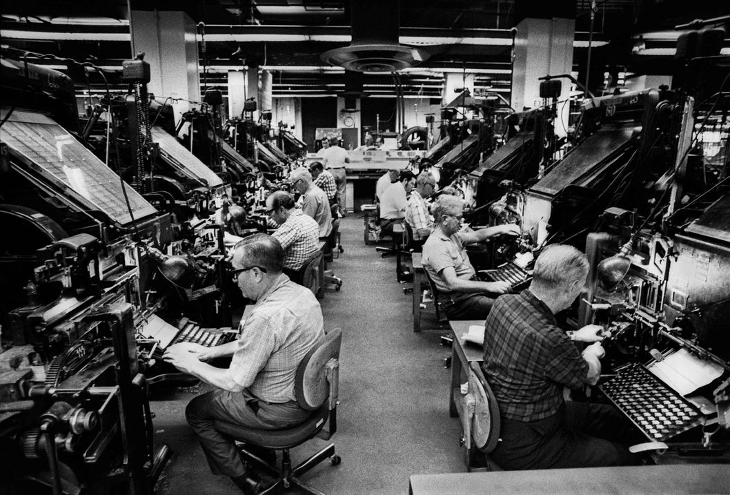New York City, New York / June 20, 1971 Linotype machine operators lay out the text of the paper's next editions. Demand for The New York Times went through the roof during the printing of the Pentagon Papers.""