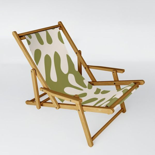 Society6 Matisse Leaves Green Sling Chair by Swati Bhatnagar