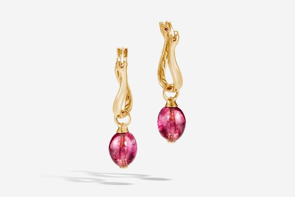 Classic Chain Drop Earring With Milky Pink Tourmaline