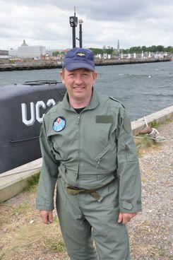Peter Madsen and his submarine, the UC3 Nautilus.