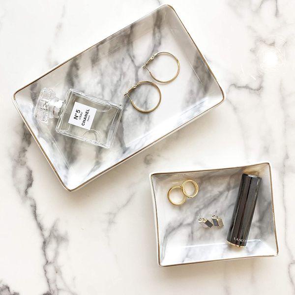 April Box Valet Marble Tray, Set of 2