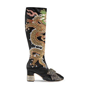Dragon Satin Mid-Heel Knee Boot