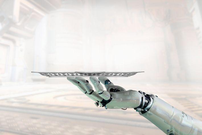 Robot Arm Holding Tray --- Image by ? William Whitehurst/Corbis