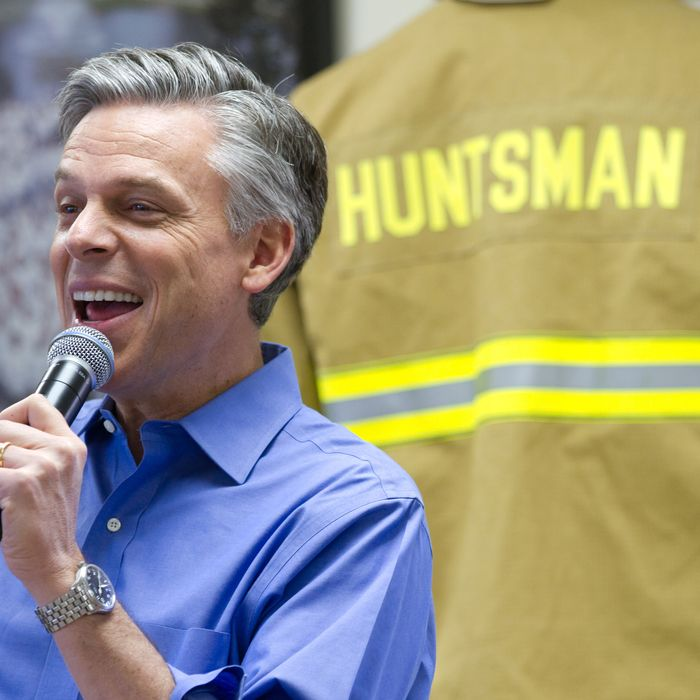 PITTSFIELD, NH - JANUARY 04: Republican presidential candidate, former Utah Gov. Jon Huntsman Jr. speaks to employees after touring Globe Manufacturing Company on January 04, 2012 in Pittsfield, New Hampshire. Huntsman continues to campaign hard in the nation's first primary state. Globe makes equipment for firefighters and other emergency workers. (Photo by Matthew Cavanaugh/Getty Images)
