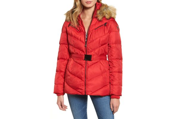 Vince Camuto Belted Down & Feather Fill Coat With Faux Fur Trim Hood