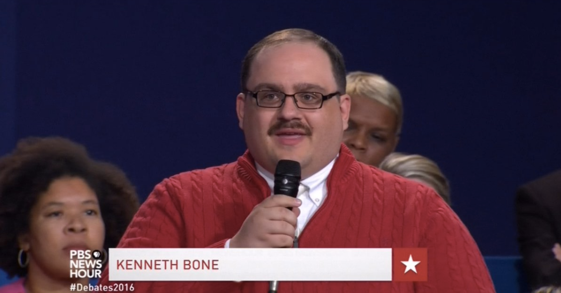 Kenneth Bone Asks Energy Question in Red Sweater at Debate