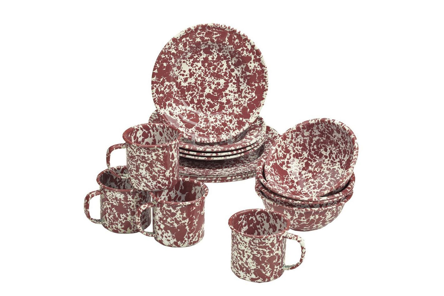 Enamelware 16 Piece Dinnerware Starter Set, Burgundy on Cream Marble