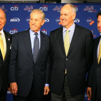 (L - R) Saul Katz, CEO of the Mets, Fred Wilpon, president of the Mets, Sandy Alderson and Jeff Wilpon, chief operating officer of the Mets