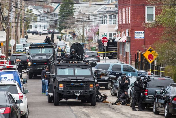 WATERTOWN, MA - APRIL 19: SWAT teams moved into position at the