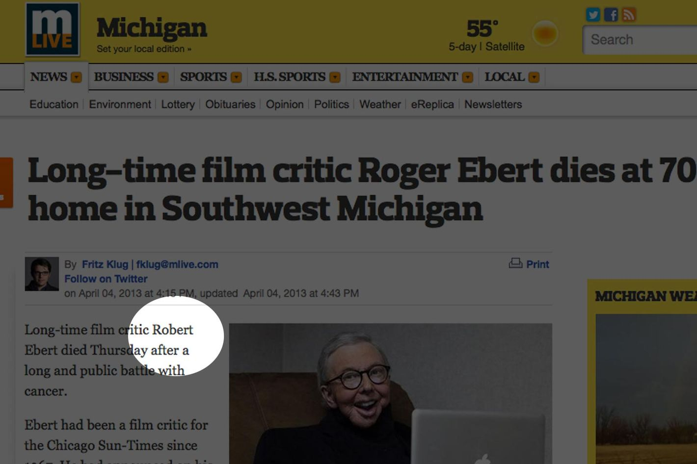 13 News Outlets That Reported the Death of Robert Ebert