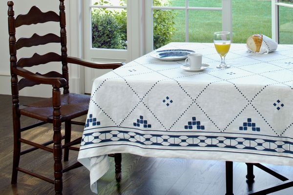 Huddleson Anfa Blue and White Linen Tablecloth