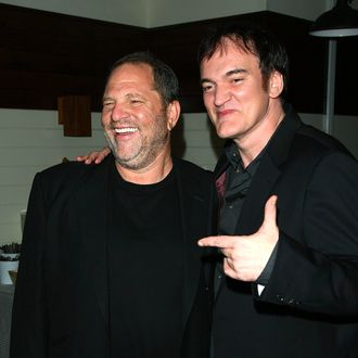 Producer Harvey Weinstein and writer/director Quentin Tarantino attend the after party for The Cinema Society & Hugo Boss screening of