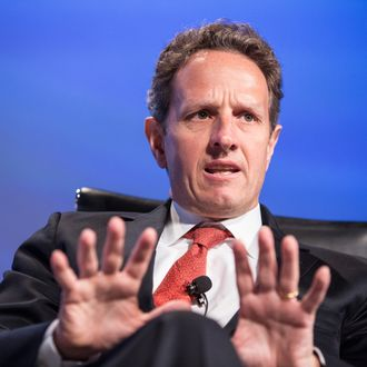 WASHINGTON, DC - MAY 15: U.S. Treasury Secretary Timothy Geithner speaks at the 2012 Fiscal Summit on May 15, 2012 in Washington, DC. The third annual summit, held by the Peter G. Peterson Foundation, explored the theme