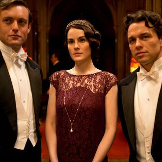 Part FiveSunday, February 2, 20149 – 10pm ET on MASTERPIECE on PBSRose's surprise party for Robert risks scandal. Mary meets an old suitor, and Edith gets troubling news.Shown from left to right: Brendan Patricks as Evelyn Napier, Michelle Dockery as Lady Mary and Julian Ovenden as Charles Blake(C) Nick Briggs/Carnival Film & Television Limited 2013 for MASTERPIECEThis image may be used only in the direct promotion of MASTERPIECE CLASSIC. No other rights are granted. All rights are reserved. Editorial use only. USE ON THIRD PARTY SITES SUCH AS FACEBOOK AND TWITTER IS NOT ALLOWED.