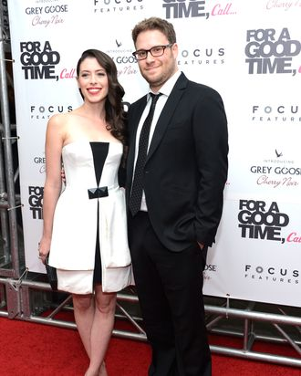 Actors Lauren Miller and Seth Rogen attend the