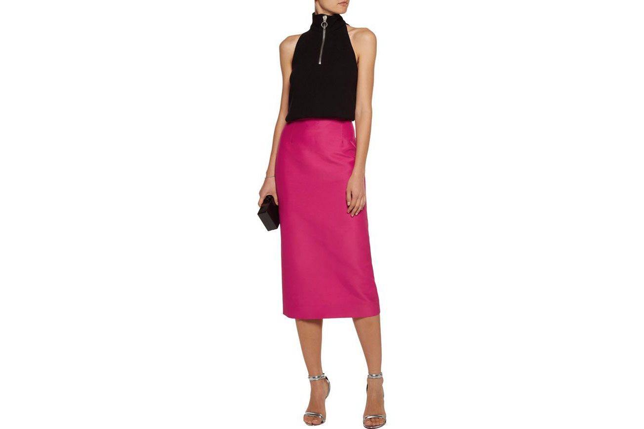 Antonio Berardi cotton-and-silk-blend satin midi-skirt