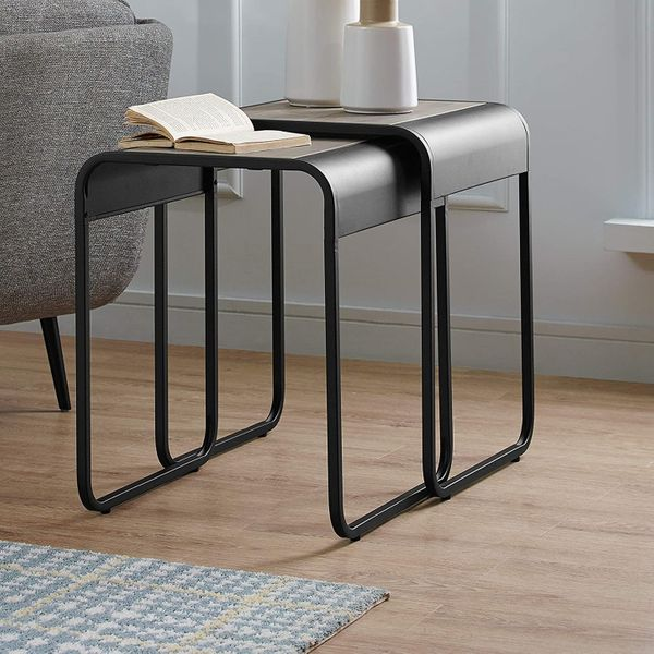 Walker Edison Furniture Company Curved Metal Frame Nesting End Table