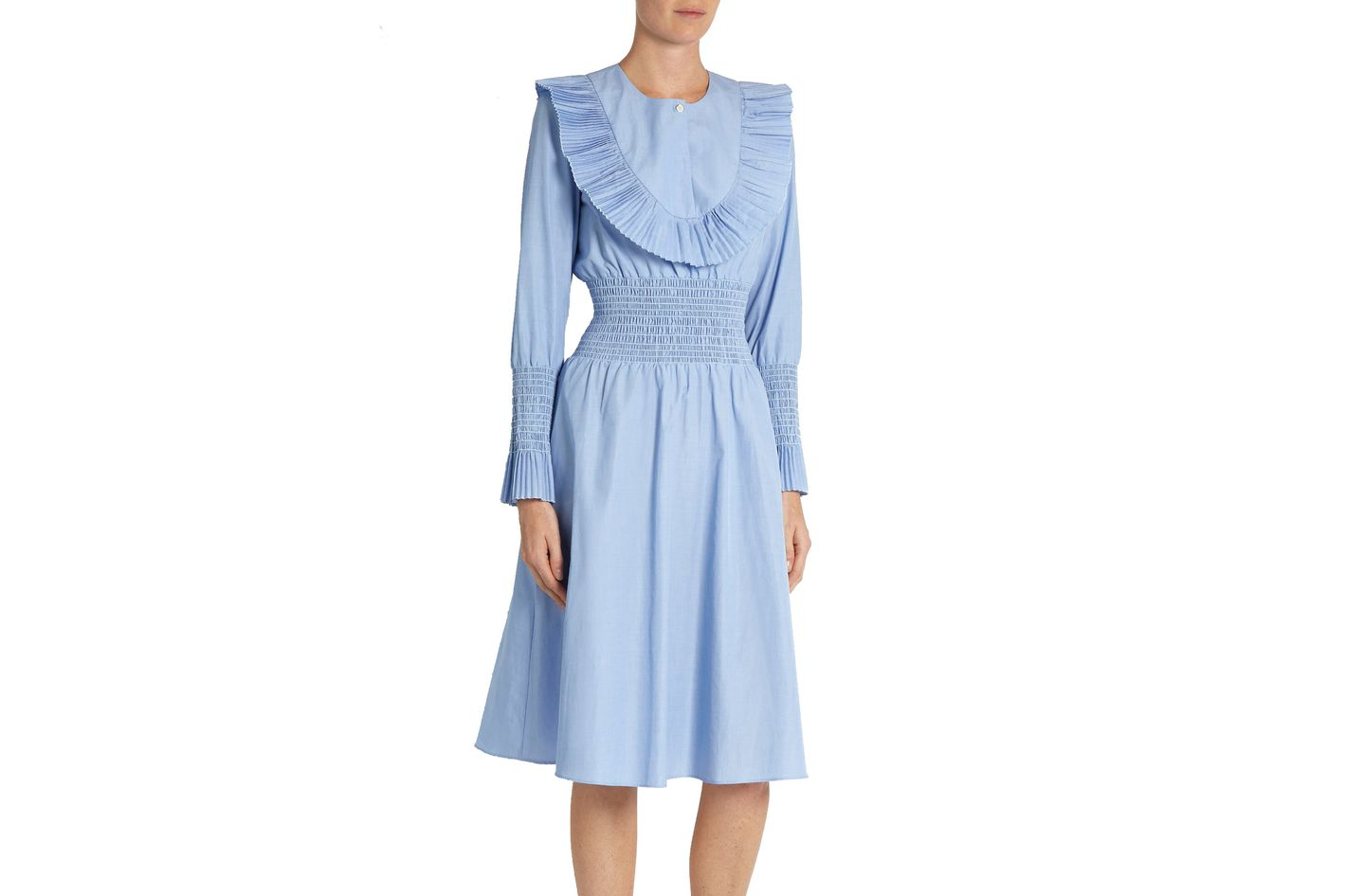 Trademark pleated-bib smocked cotton-poplin dress